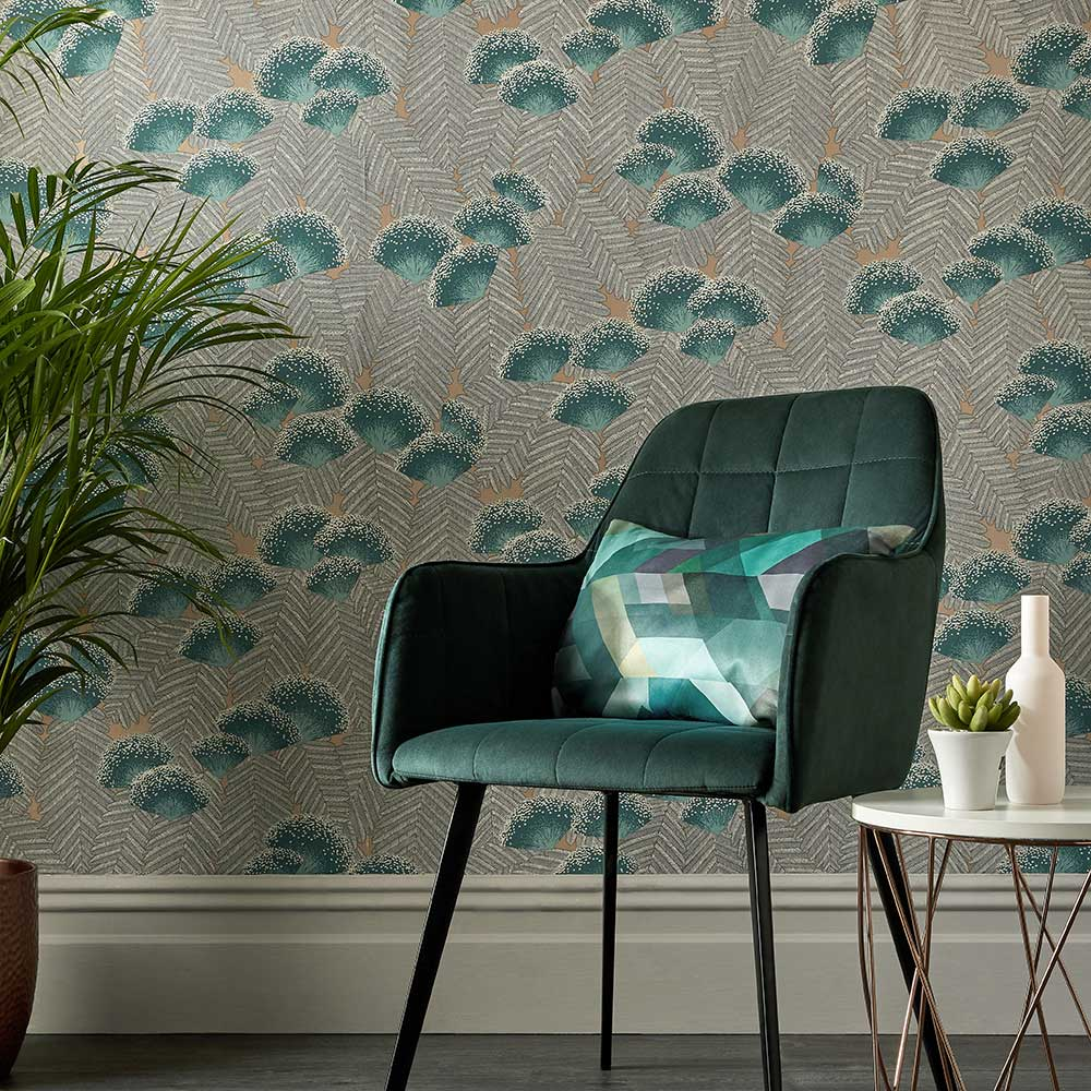 1838 Wallcoverings Clarice Emerald Wallpaper - Product code: 1907-138-02