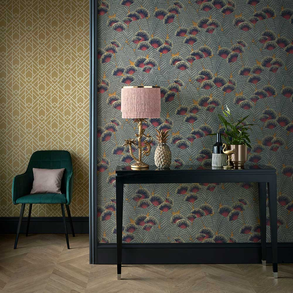 Clarice Wallpaper - Jet - by 1838 Wallcoverings