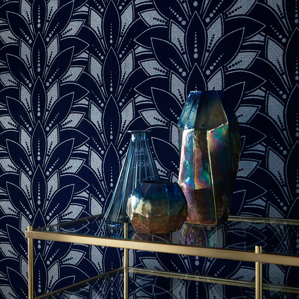 1838 Wallcoverings Astoria Midnight Wallpaper - Product code: 1907-139-01