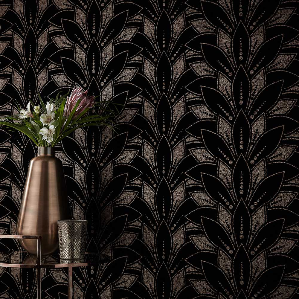 Astoria Wallpaper - Jet - by 1838 Wallcoverings