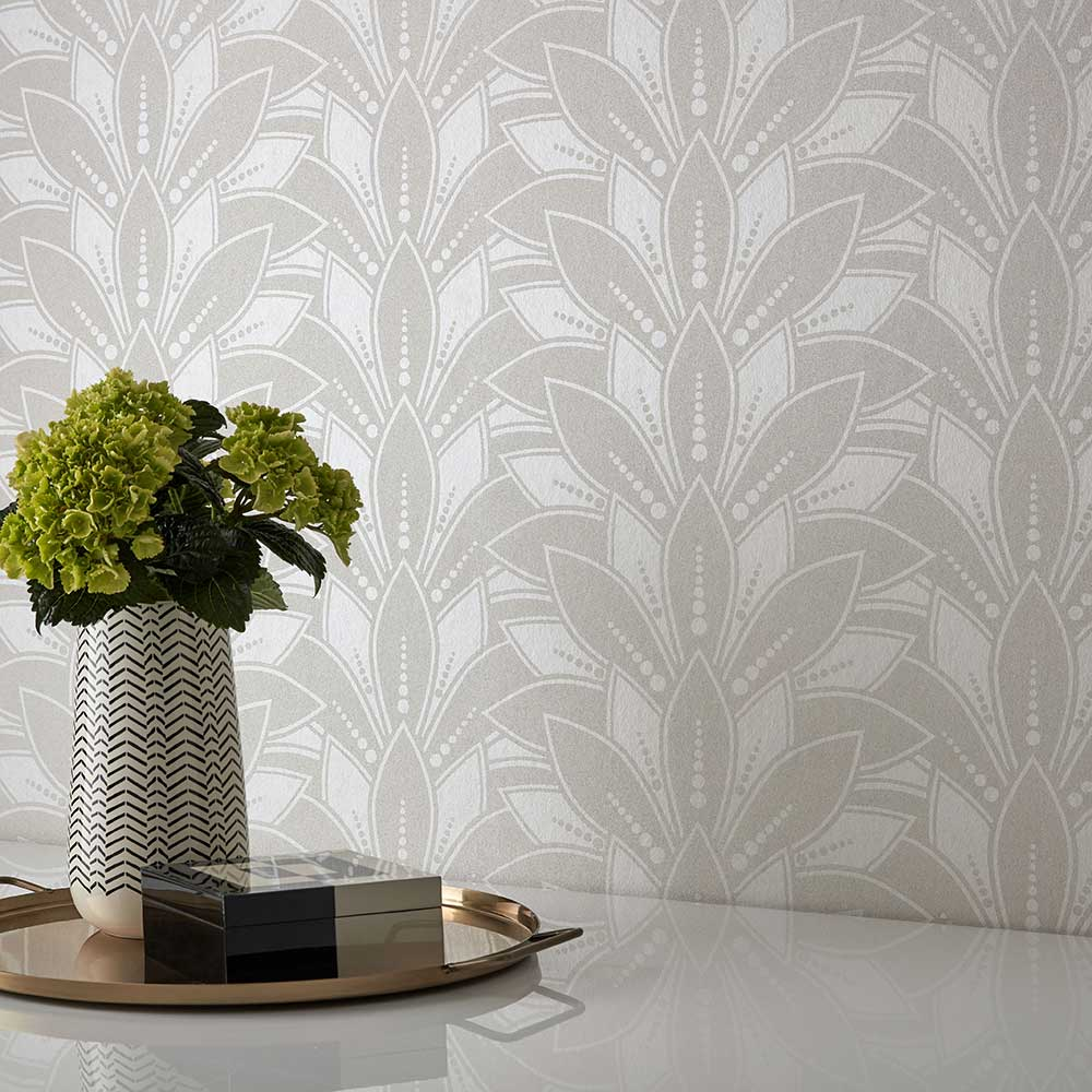 Astoria Wallpaper - Pearl Beaded - by 1838 Wallcoverings