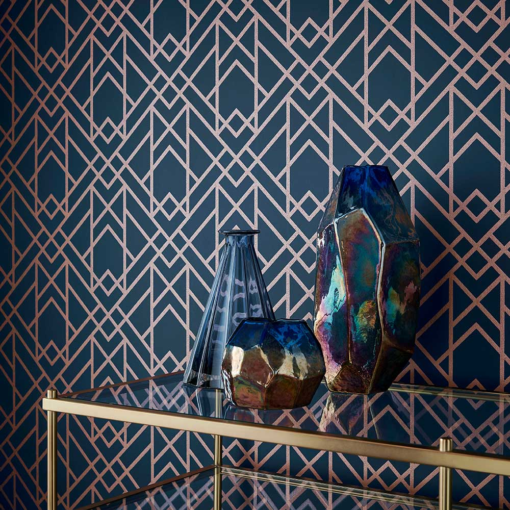1838 Wallcoverings Metro Midnight Wallpaper - Product code: 1907-140-01