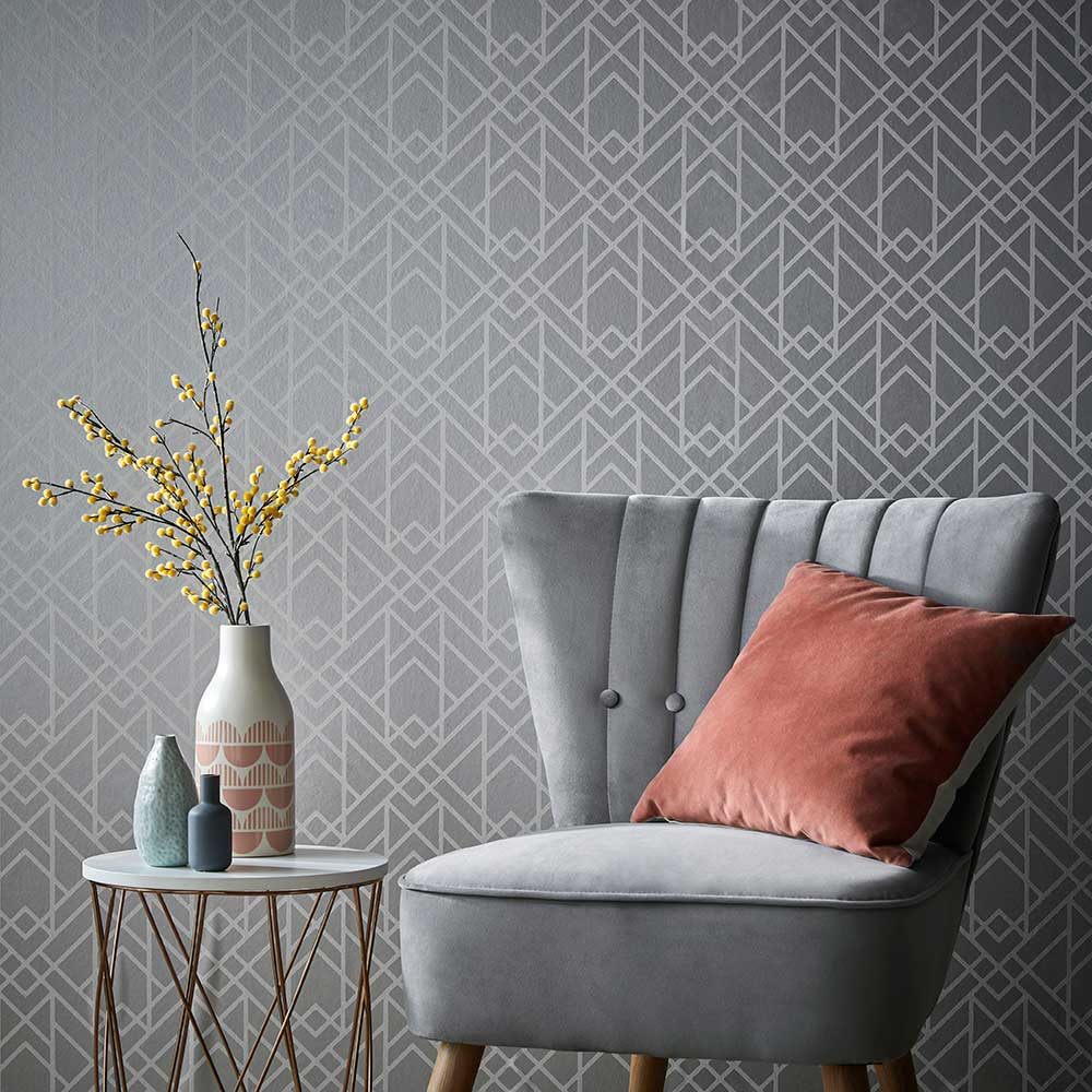 1838 Wallcoverings Metro Soft Grey Wallpaper - Product code: 1907-140-05