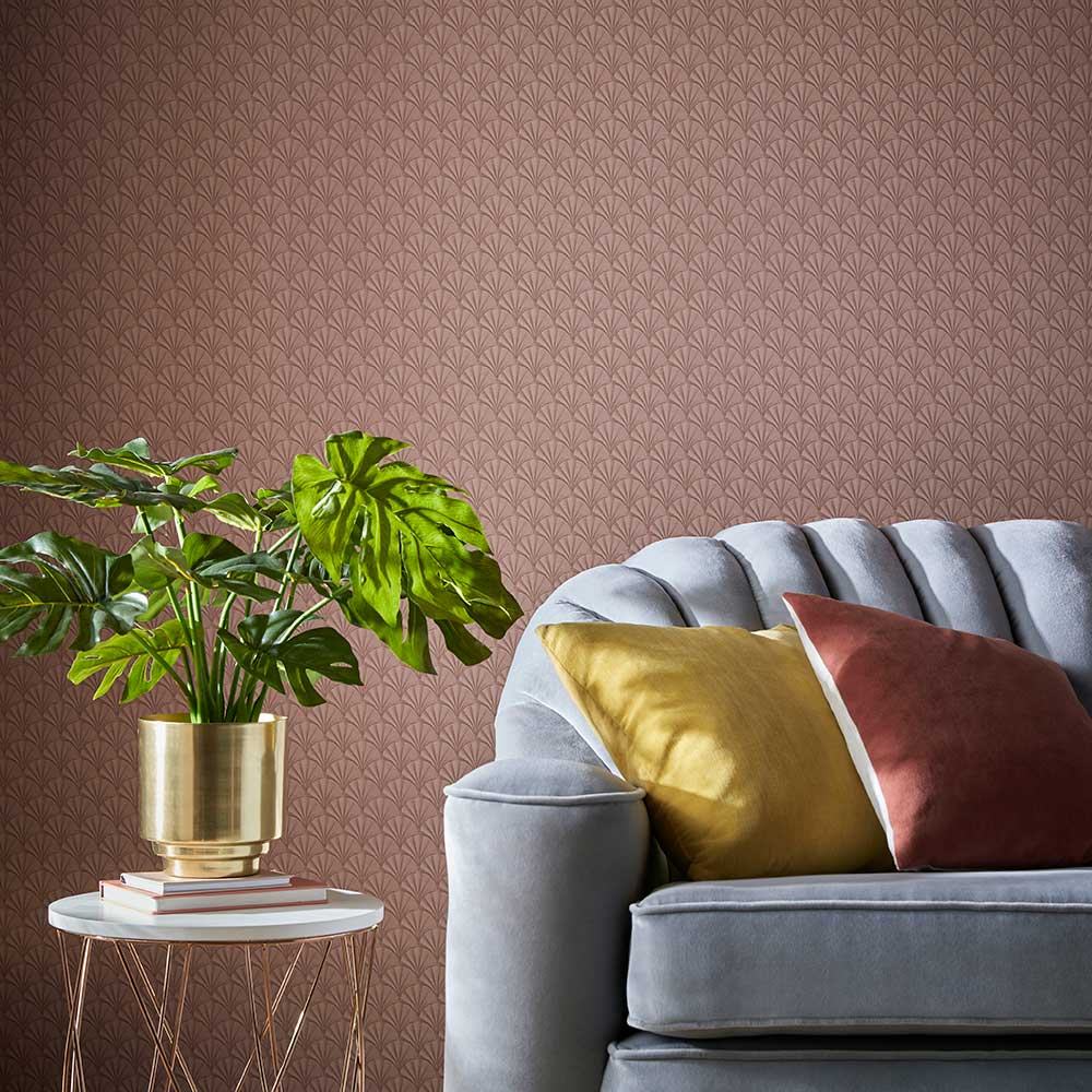 Elodie Wallpaper - Coral - by 1838 Wallcoverings