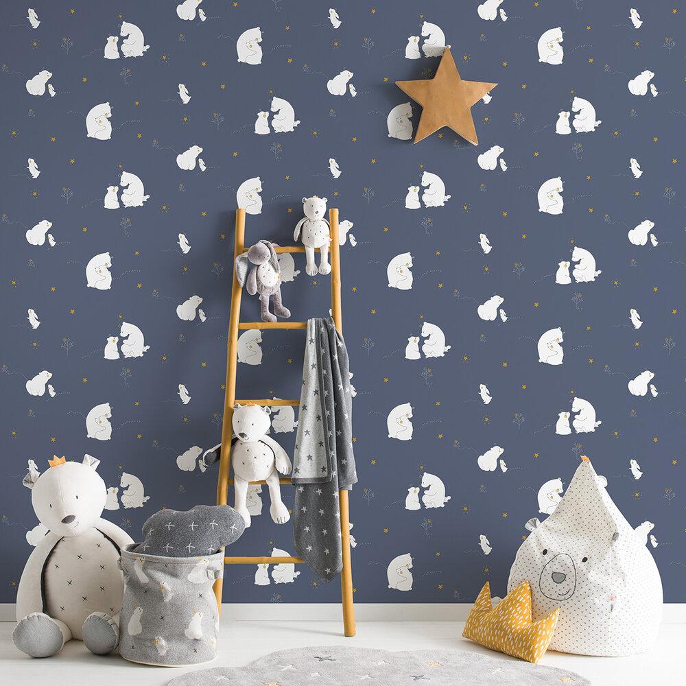 Mummy Bear and Baby Bear Wallpaper - Dark Blue - by Galerie
