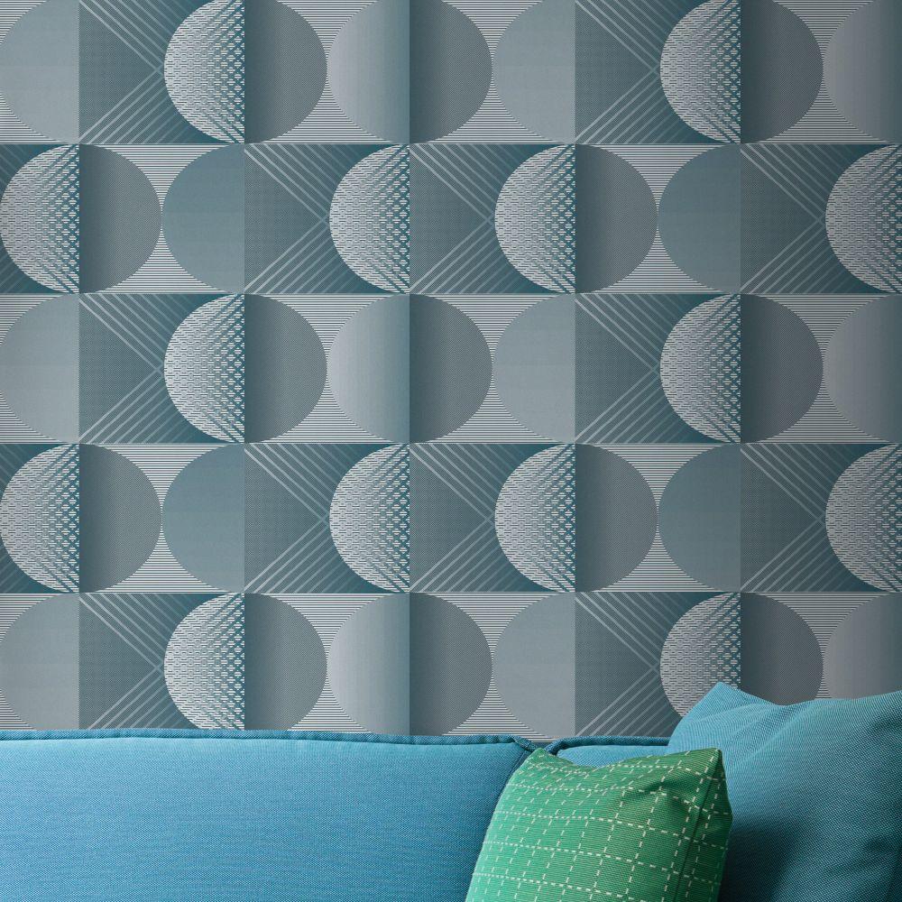 Round Wallpaper - Blue - by Tres Tintas
