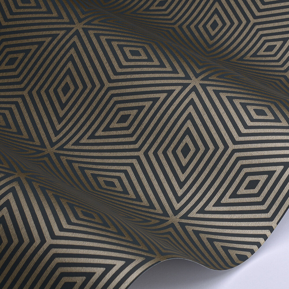 Marquetry Tile Wallpaper - Kohl - by Paint & Paper Library