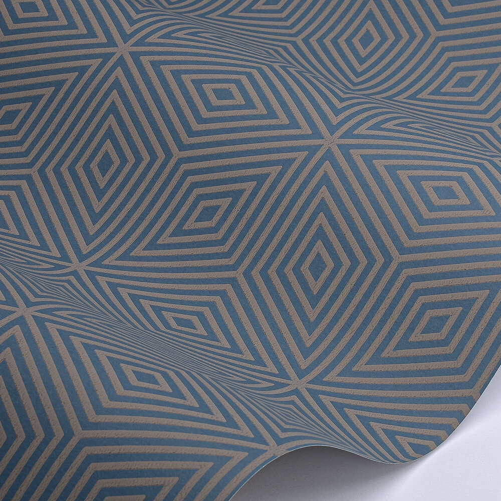 Marquetry Tile Wallpaper - Blue Blood - by Paint & Paper Library