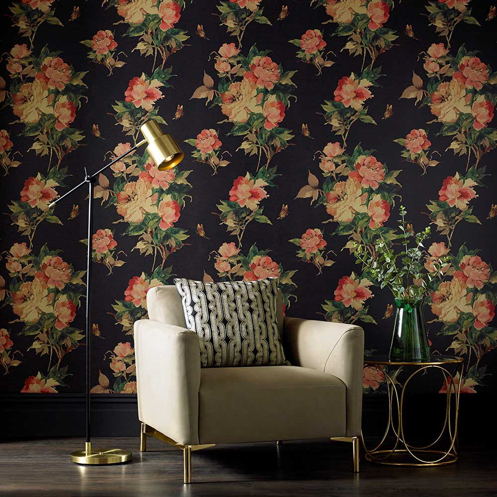 Madama Butterfly Wallpaper - Ebony - by 1838 Wallcoverings