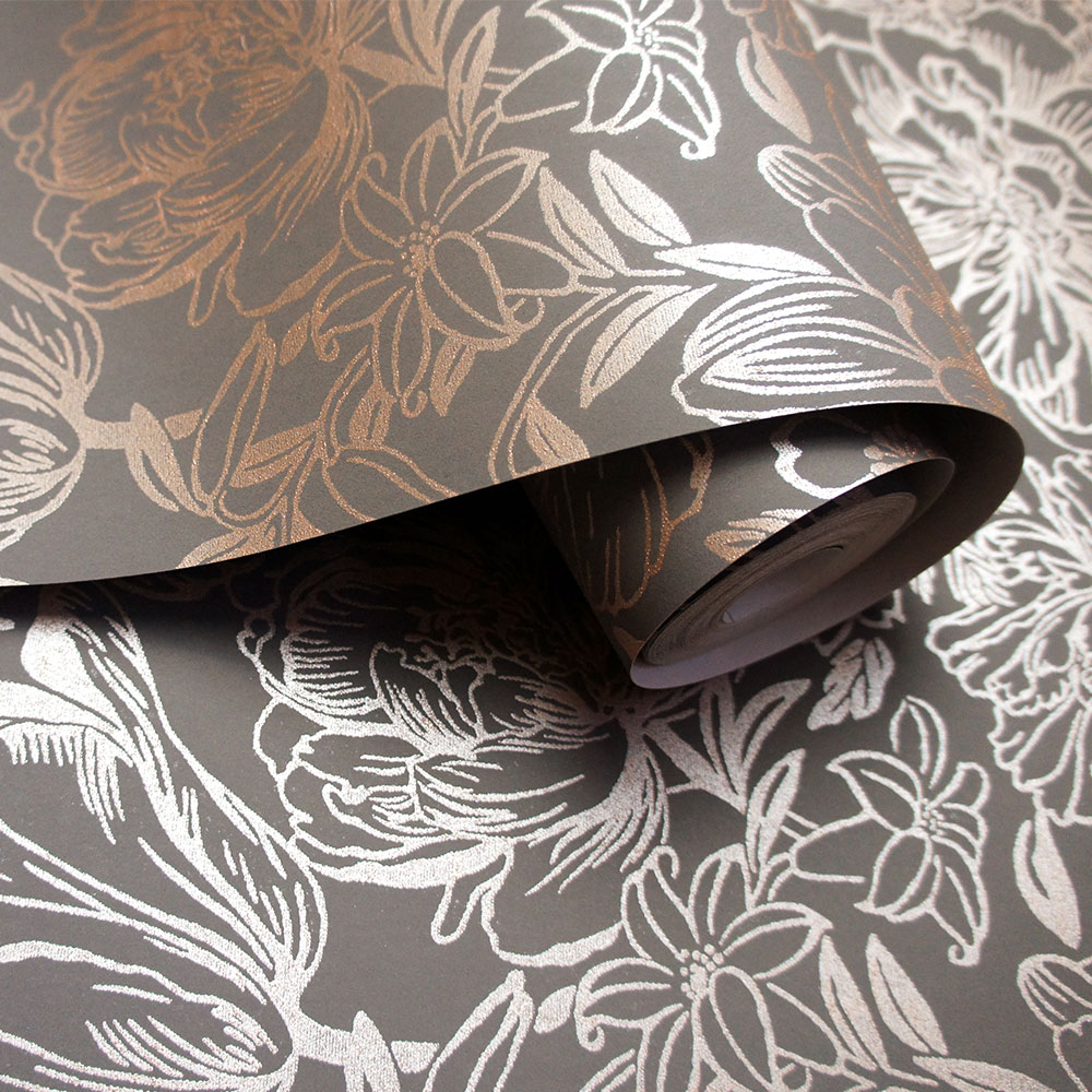 Imogen Wallpaper - Slate/ Rose gold - by Albany