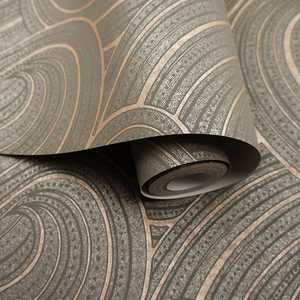 Aurora  Wallpaper - Slate/ Rose Gold - by Albany