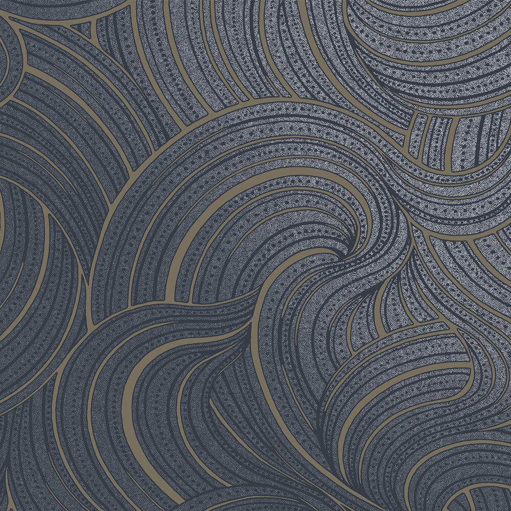 Aurora  Wallpaper - Navy - by Albany
