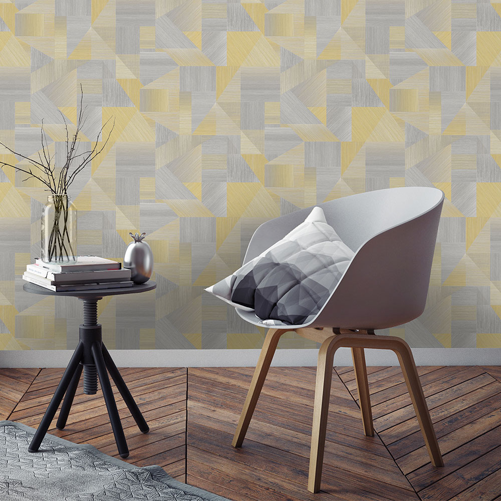 Laronda  Wallpaper - Yellow/ Grey - by Albany