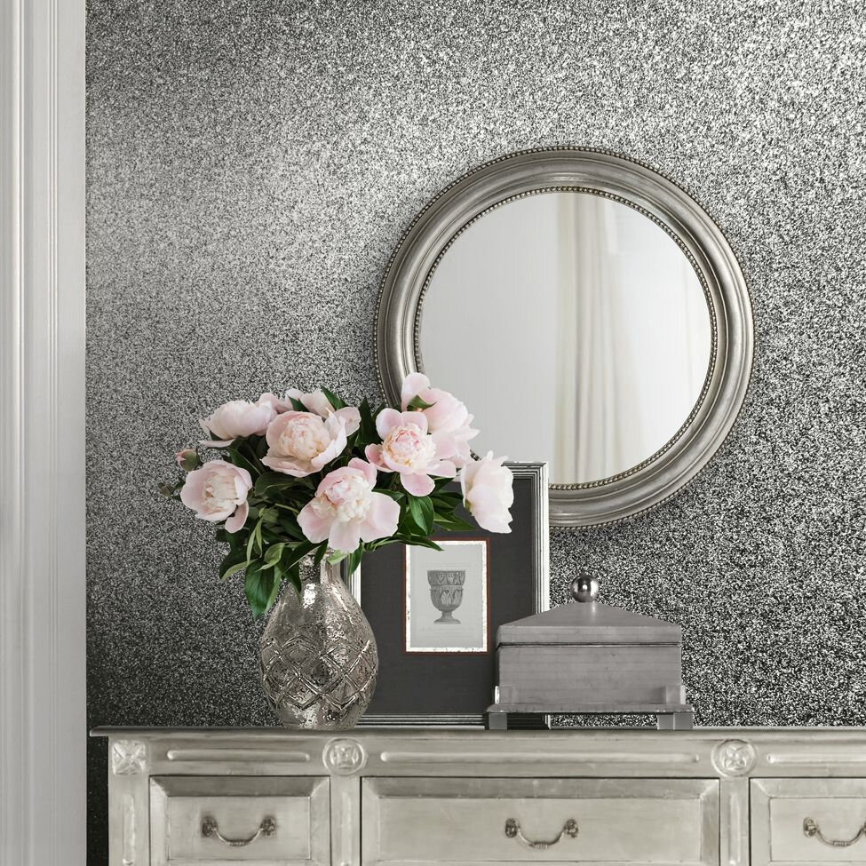 Oriah Glitter Wallpaper - Silver - by Albany