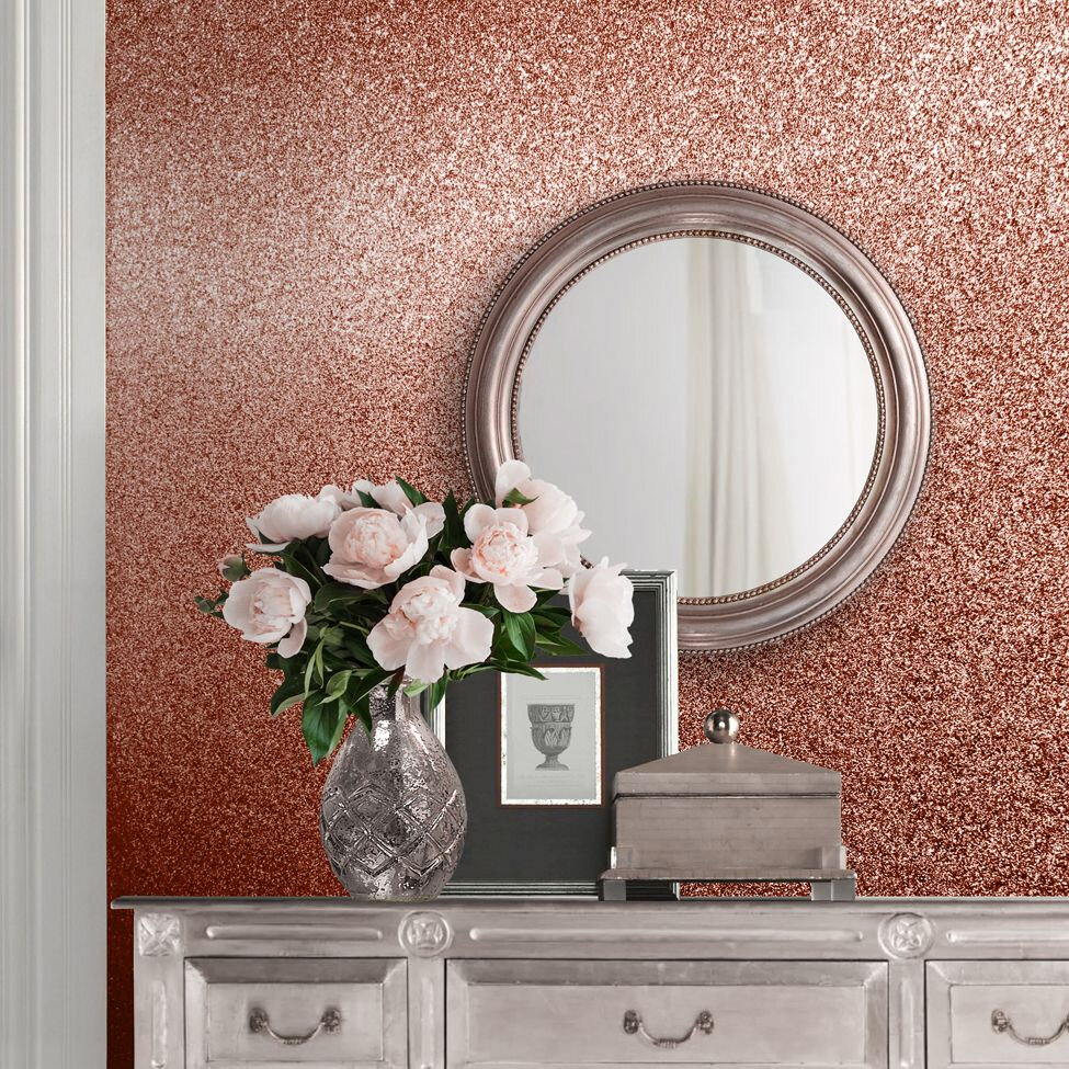 Oriah Glitter Wallpaper - Rose Gold - by Albany