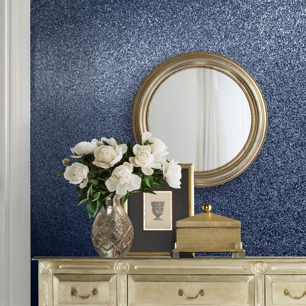 Oriah Glitter Wallpaper - Midnight Blue - by Albany