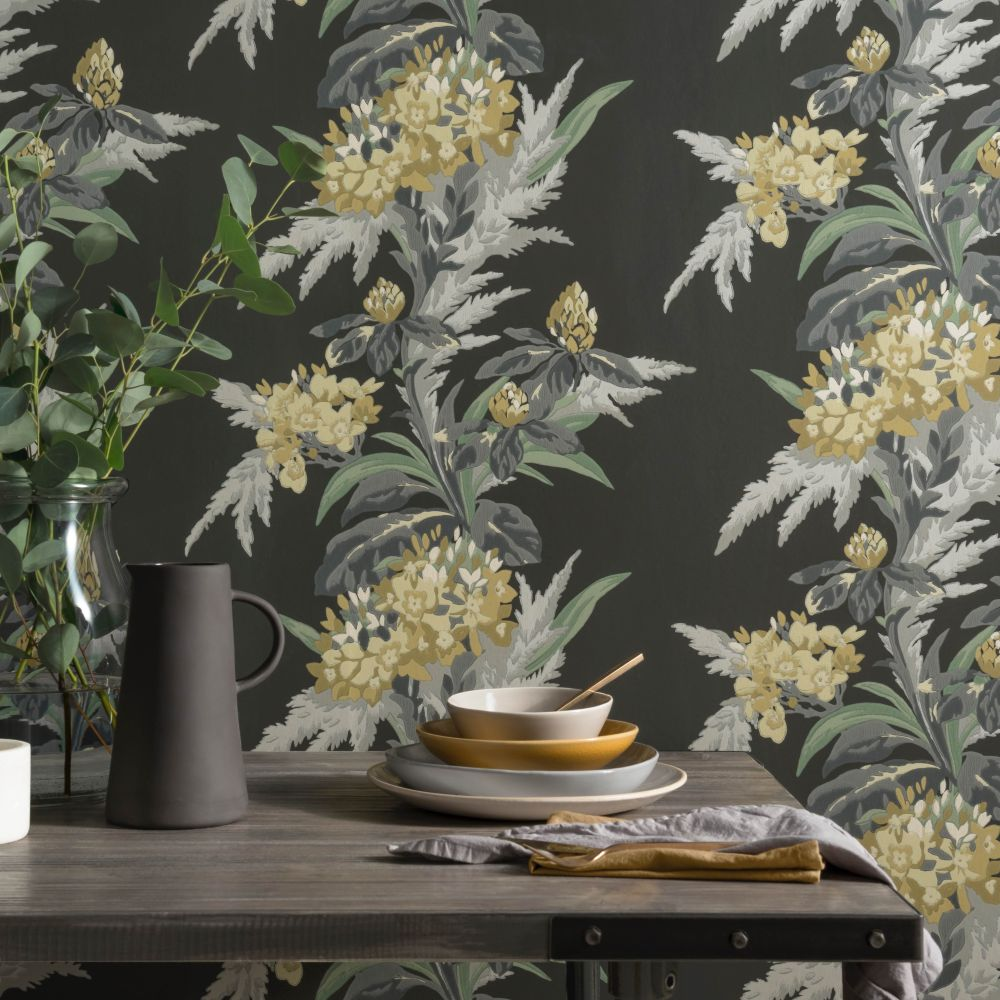 Aurora Wallpaper - Jet - by 1838 Wallcoverings
