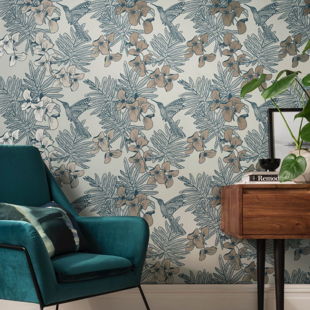1838 Wallcoverings Hummingbird Lagoon Wallpaper - Product code: 1804-117-02