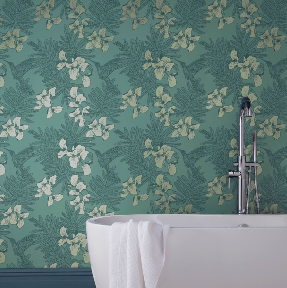 Hummingbird Wallpaper - Seafoam - by 1838 Wallcoverings