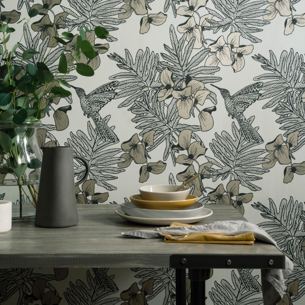 Hummingbird Wallpaper - Jet - by 1838 Wallcoverings