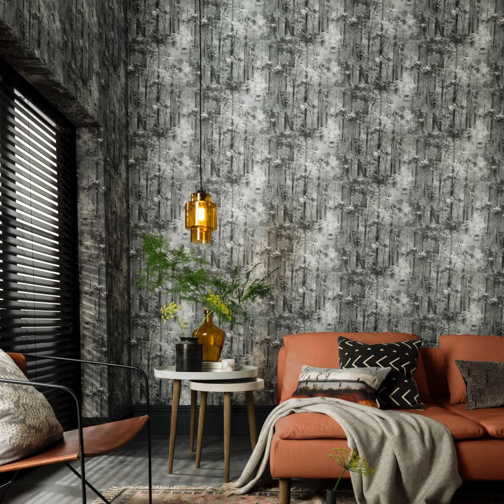 1838 Wallcoverings Glade Jet Wallpaper - Product code: 1804-118-05