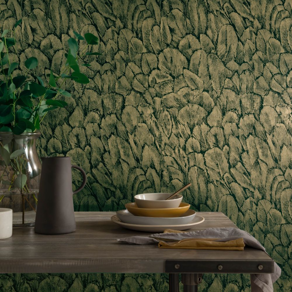 Tranquil Wallpaper - Jet - by 1838 Wallcoverings