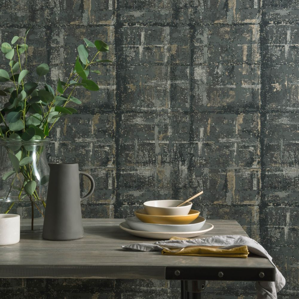 Patina Wallpaper - Jet - by 1838 Wallcoverings