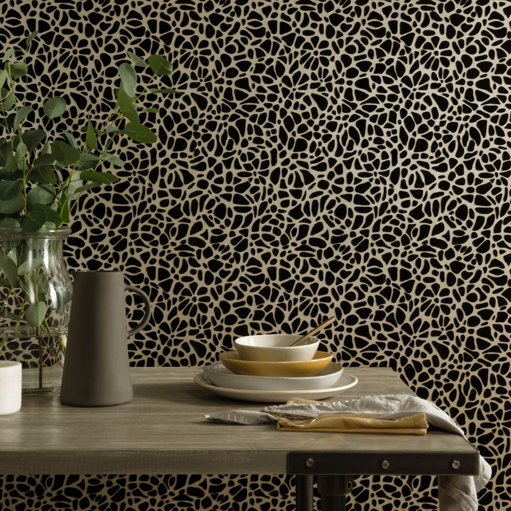 Pebble Wallpaper - Jet - by 1838 Wallcoverings