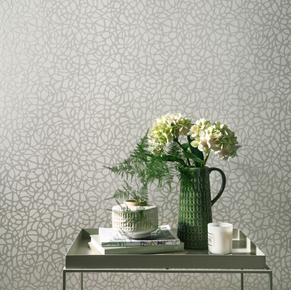Pebble Wallpaper - Pearl - by 1838 Wallcoverings