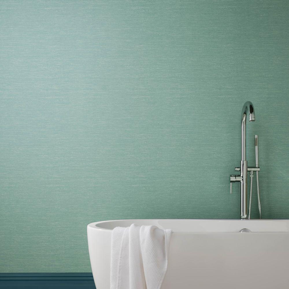 1838 Wallcoverings Raffia Seafoam Wallpaper - Product code: 1804-122-01