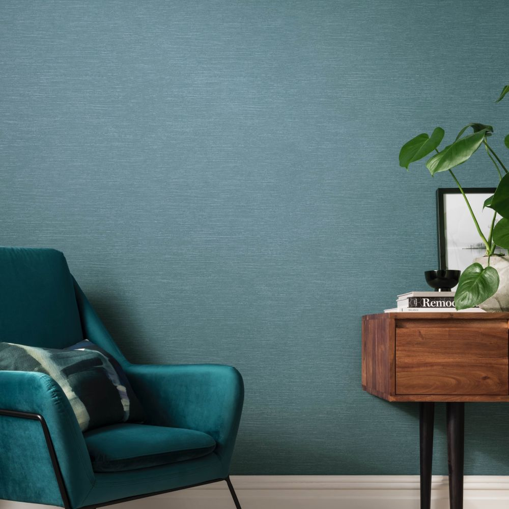 Raffia Wallpaper - Lagoon - by 1838 Wallcoverings