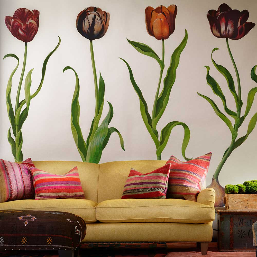 Tulips Mural - Red - by Andrew Martin