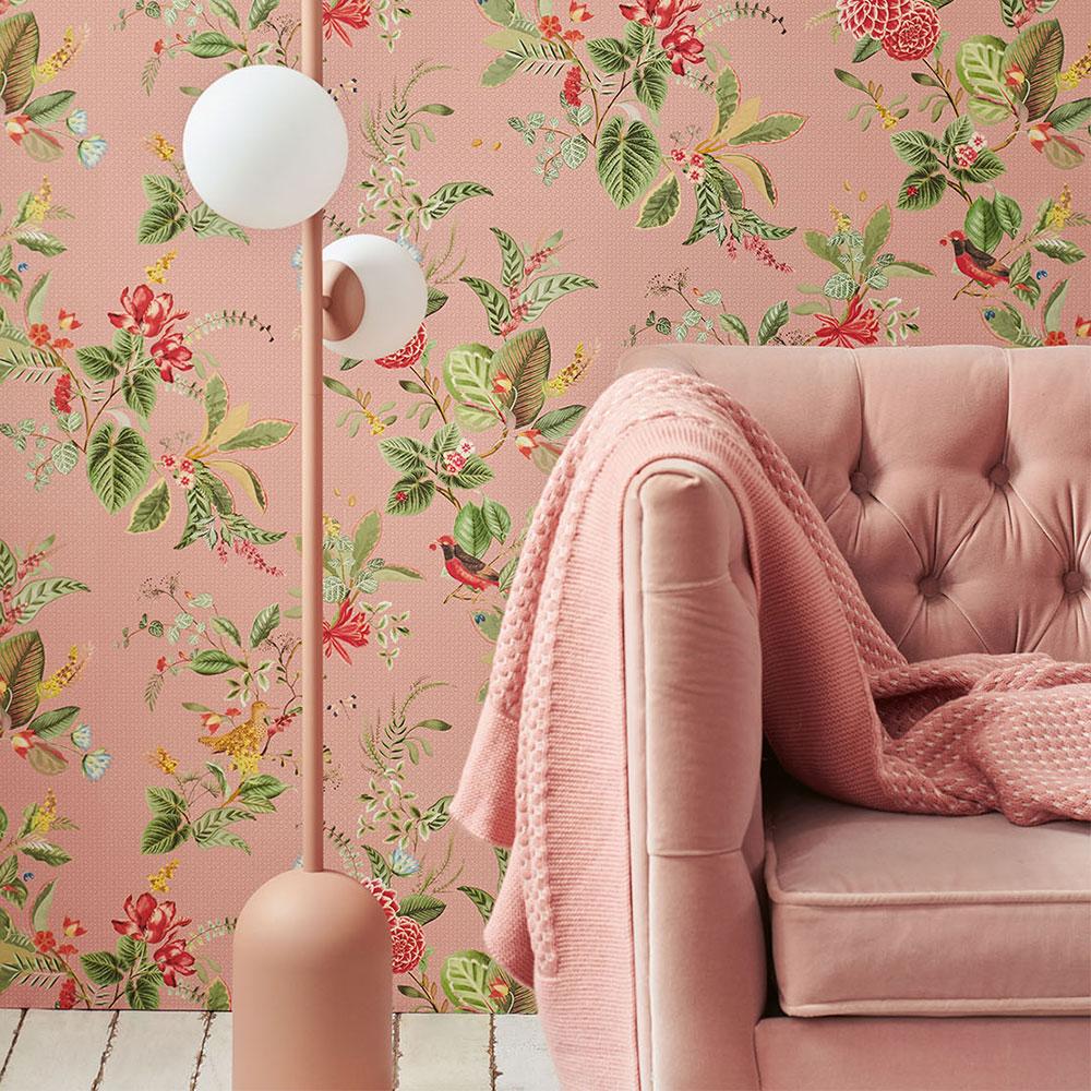 Floris Wallpaper - Pink - by Eijffinger