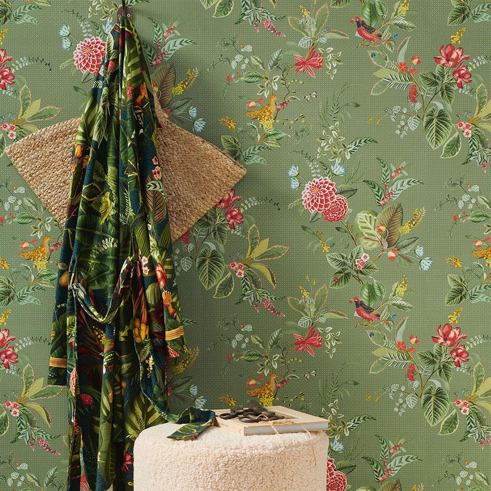 Floris Wallpaper - Green - by Eijffinger