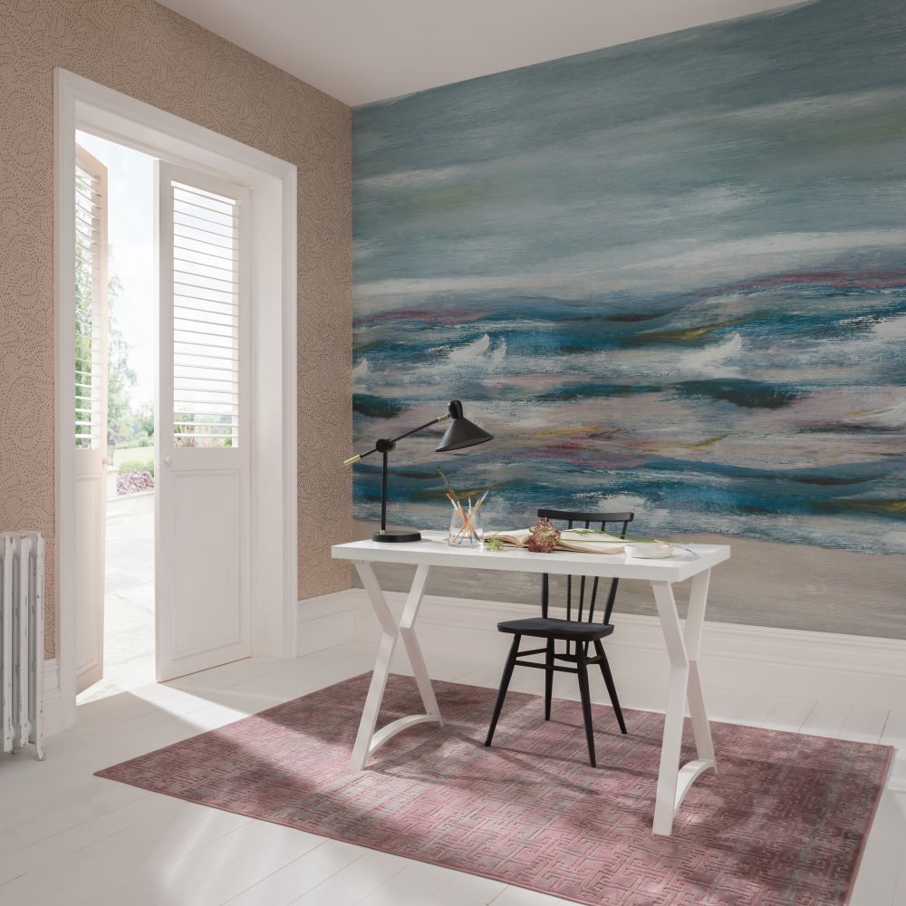 Bellavista  Mural - Aquamarine - by 1838 Wallcoverings