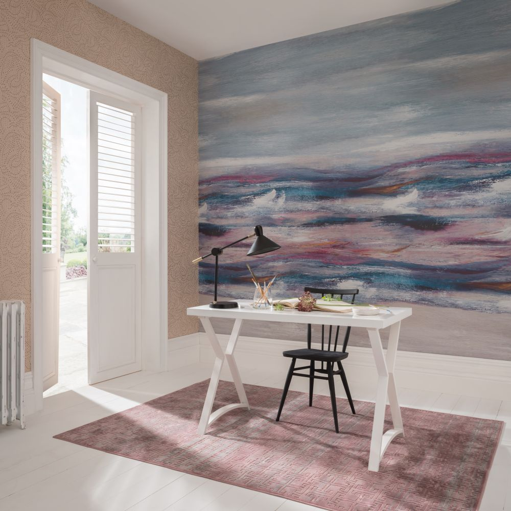 Bellavista  Mural - Azure - by 1838 Wallcoverings