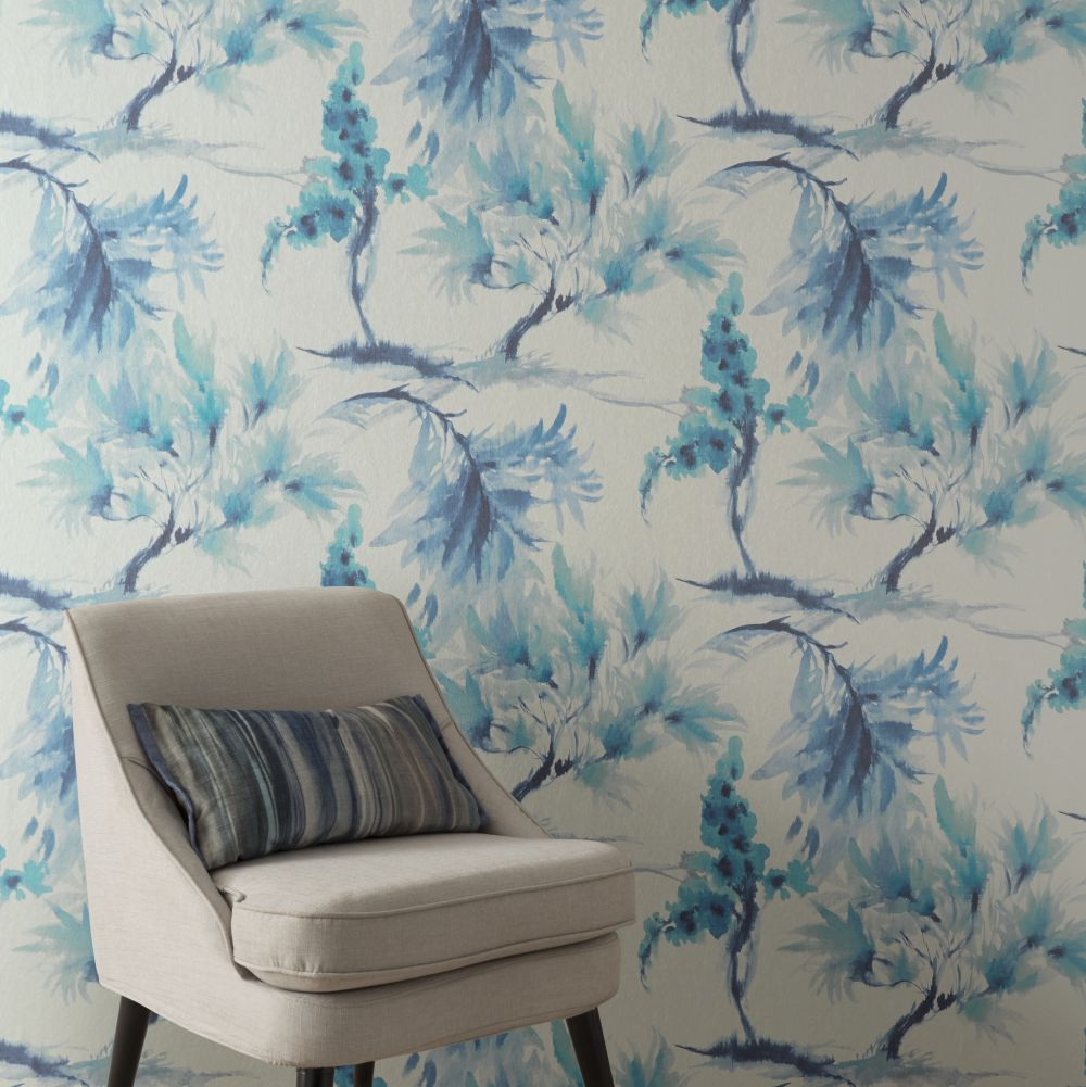 Mimosa Wallpaper - Aquamarine - by 1838 Wallcoverings