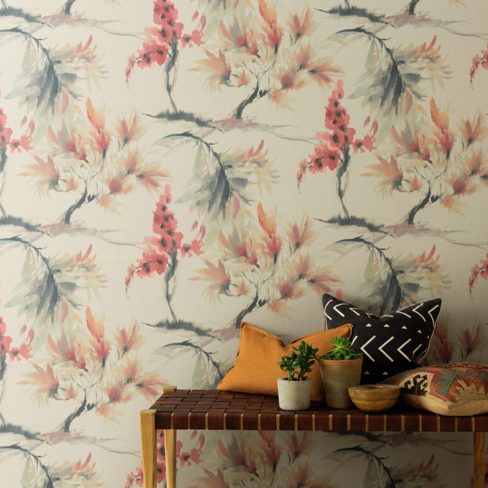 Mimosa Wallpaper - Red Clay - by 1838 Wallcoverings