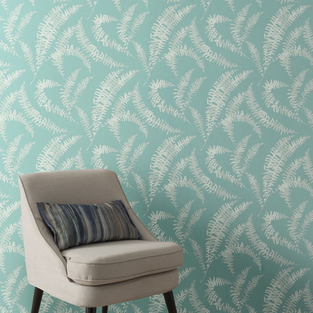 Felci Wallpaper - Aquamarine - by 1838 Wallcoverings