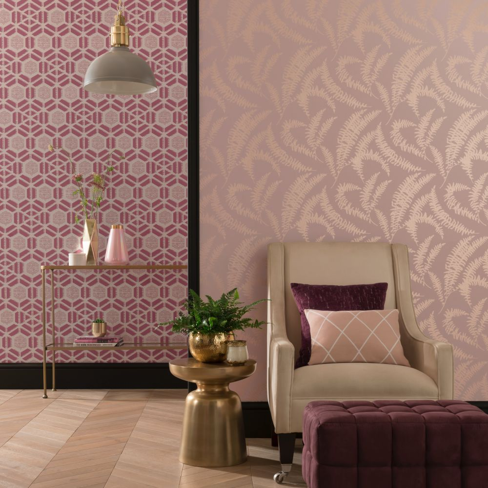 Felci Wallpaper - Pink Stucco - by 1838 Wallcoverings