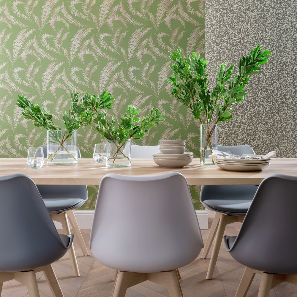 Felci Wallpaper - Olive Green - by 1838 Wallcoverings