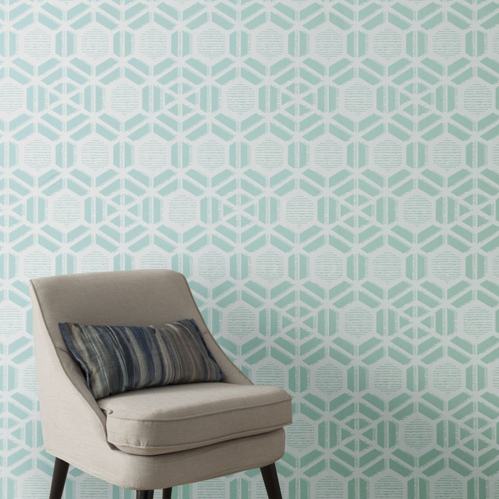 Capri Wallpaper - Aquamarine - by 1838 Wallcoverings