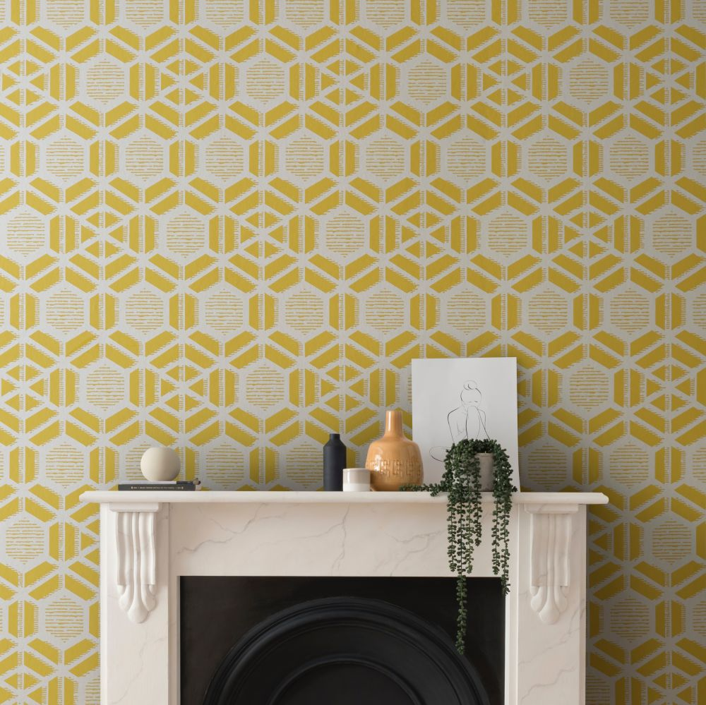 Capri Wallpaper - Ochre - by 1838 Wallcoverings