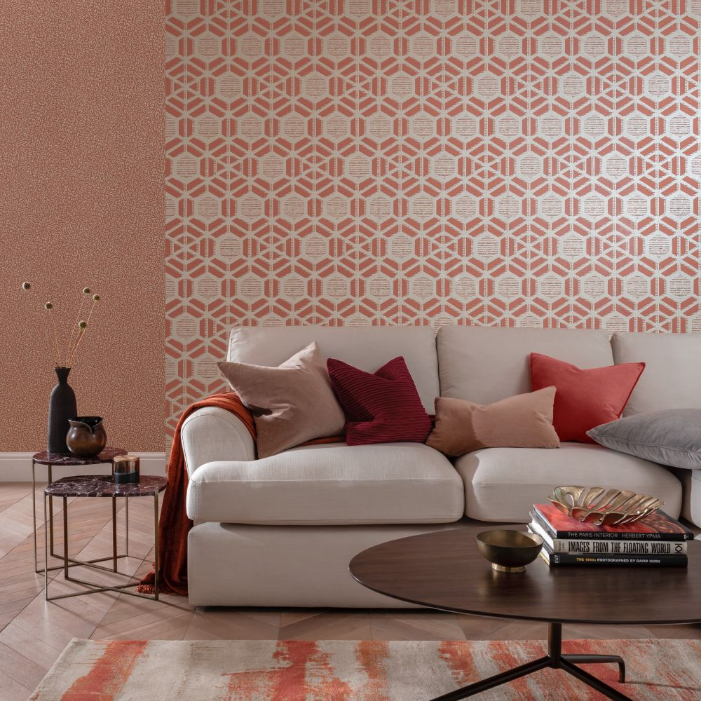 Capri Wallpaper - Red Clay - by 1838 Wallcoverings