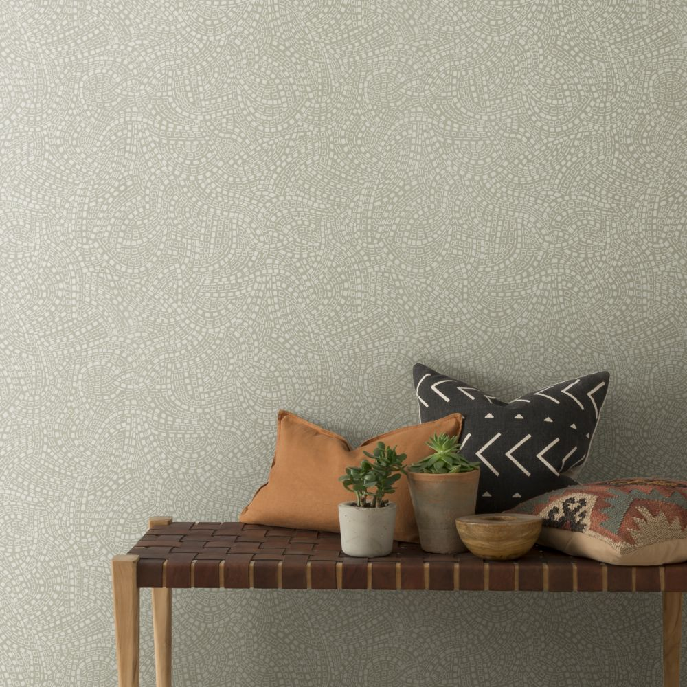 Mosaic Wallpaper - Sandstone - by 1838 Wallcoverings