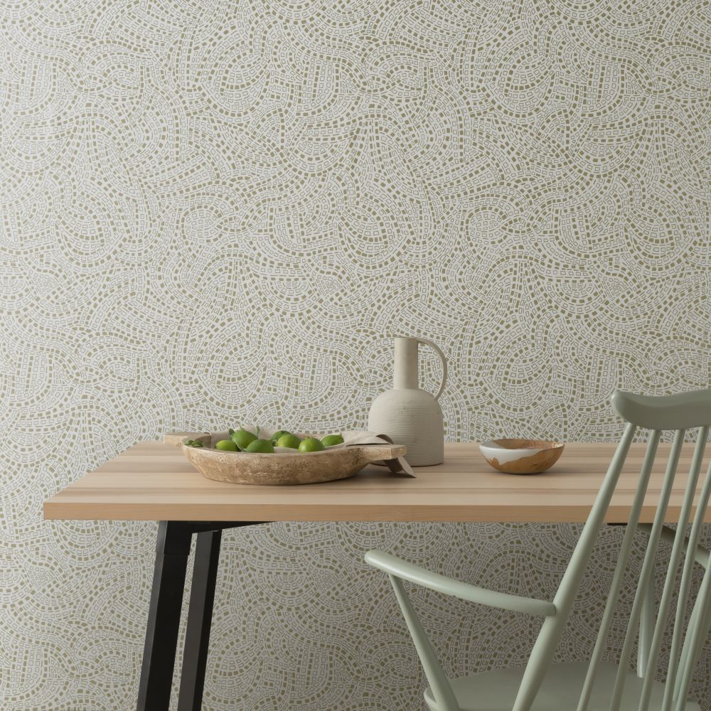 Mosaic Wallpaper - Shimmer - by 1838 Wallcoverings