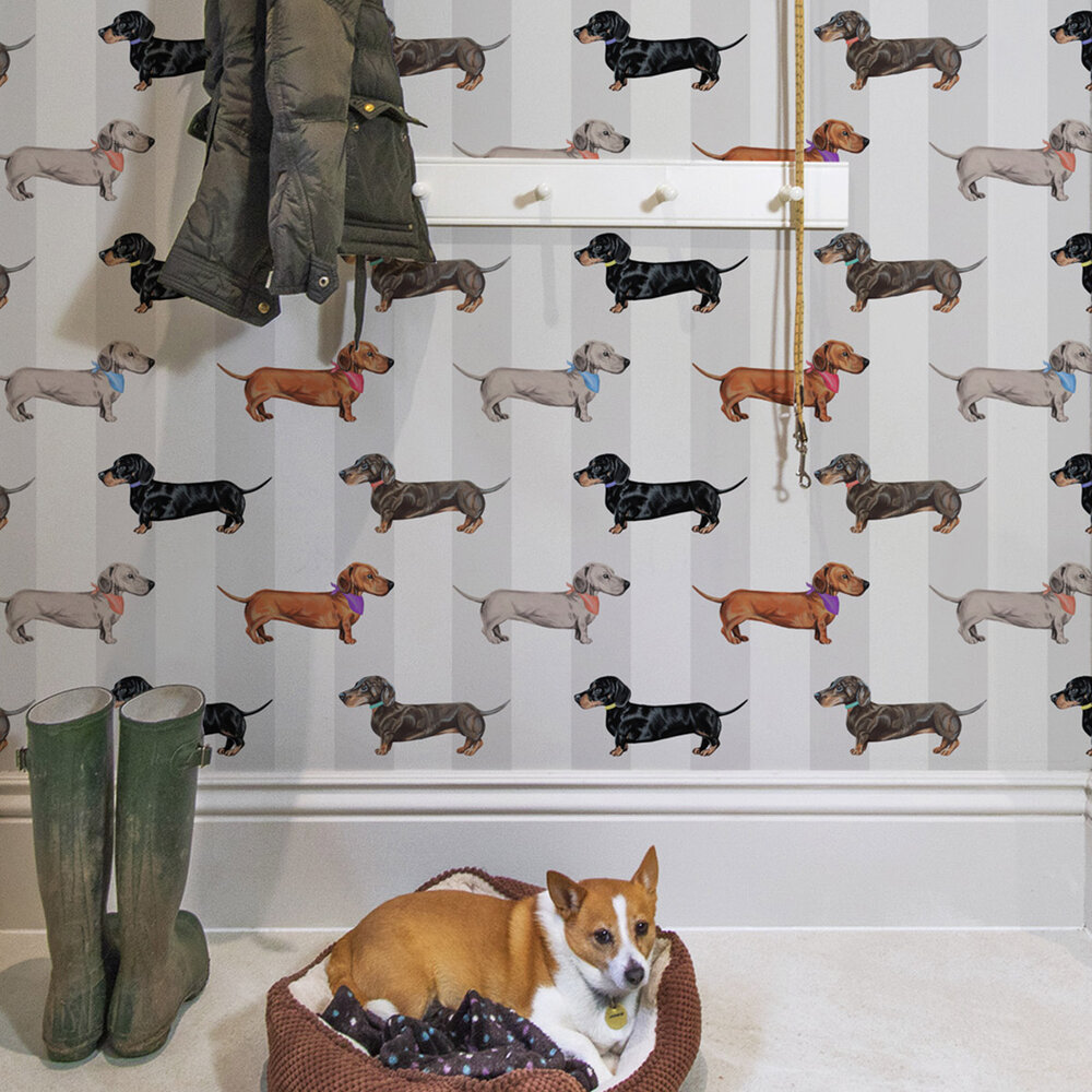 Dachshund Wallpaper - Natural - by Graduate Collection