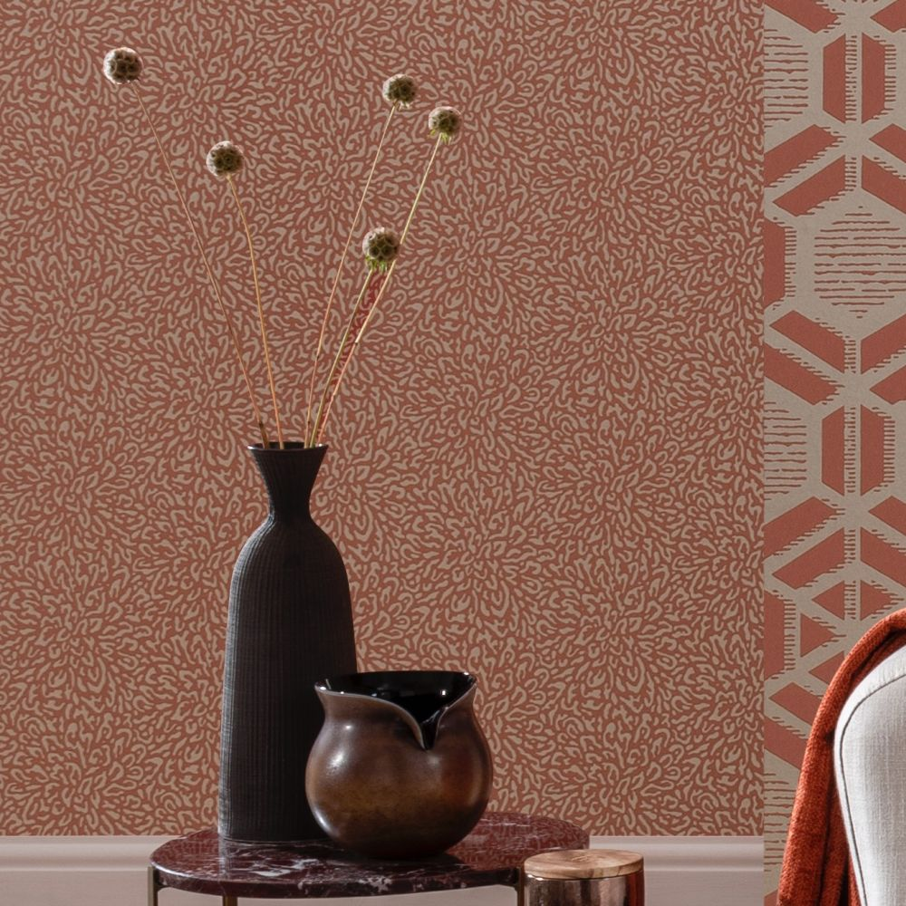 Corallo Wallpaper - Red Clay - by 1838 Wallcoverings