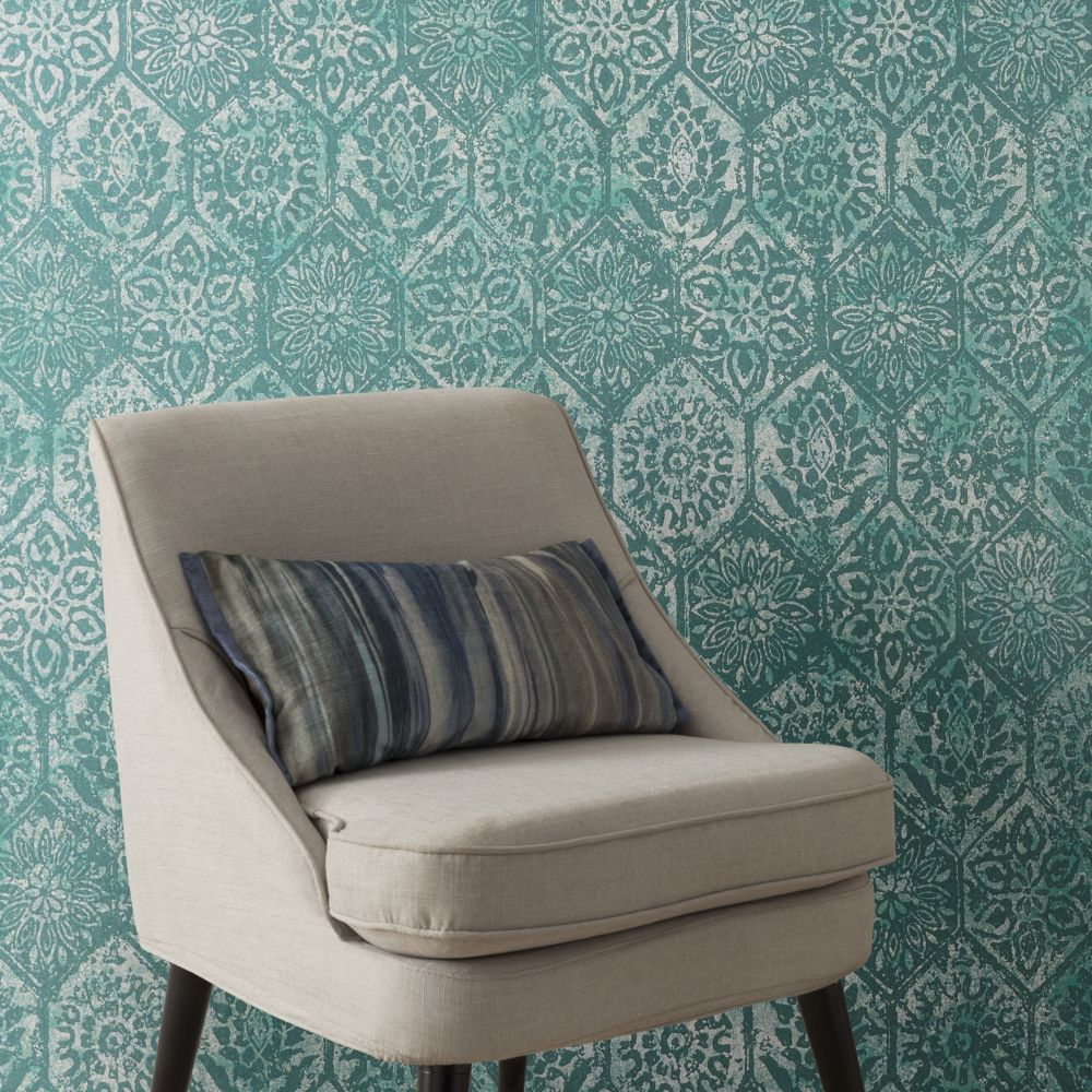 1838 Wallcoverings Palazzo Aquamarine Wallpaper - Product code: 1905-129-01