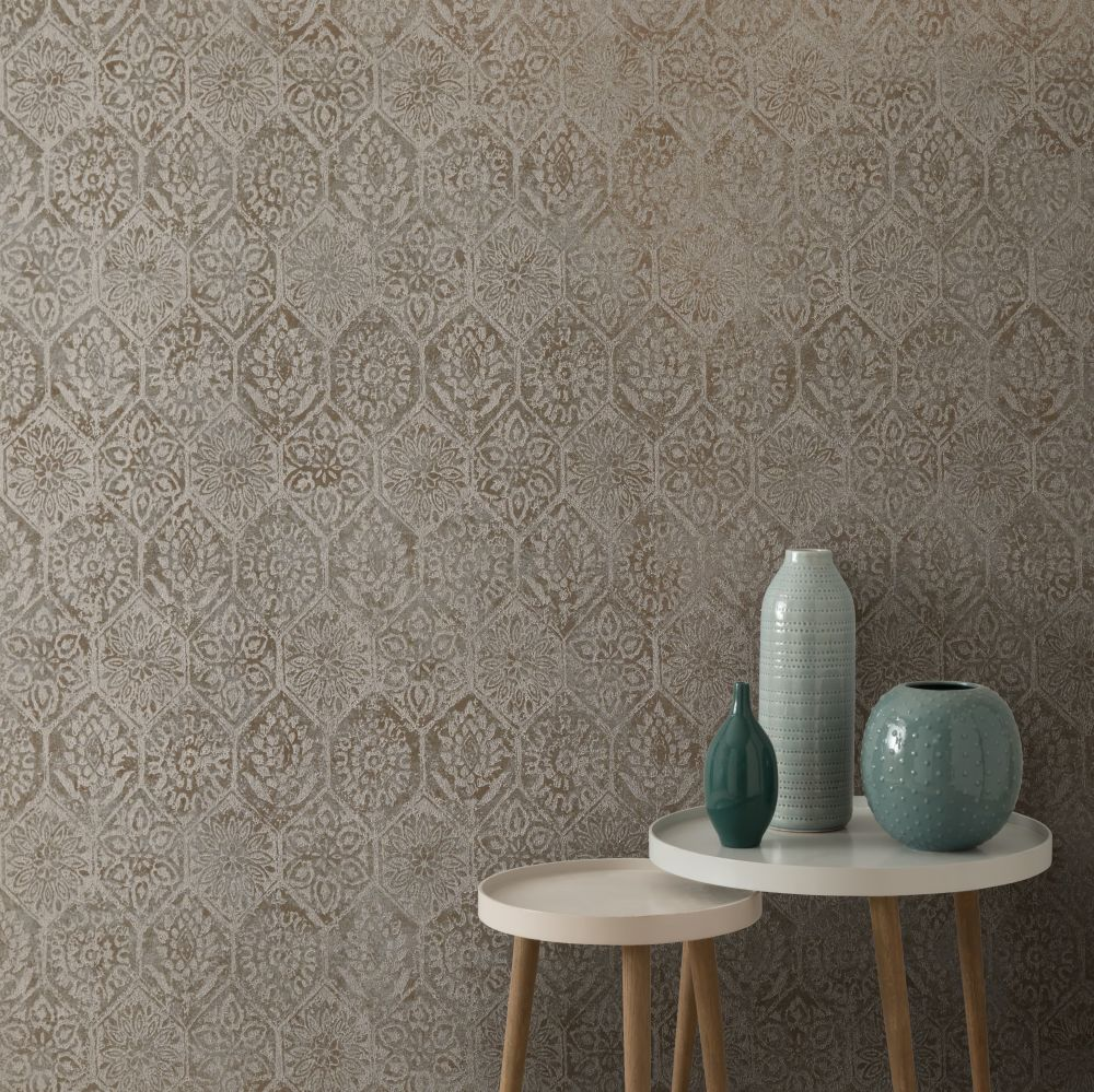 1838 Wallcoverings Palazzo Burnished Wallpaper - Product code: 1905-129-02
